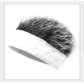 Wool as wig hat funny cap wig cap beanie hat knit cap novelty hair beanie cap for men(white) halloween gift