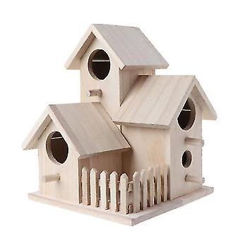 الطيور اللعب الإبداعية منزل الطيور خشبية تربية قفص مربع الفناء الخلفي قلادة محاكاة السياج بيت الطيور decora