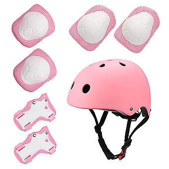 Sports Protective Gear Children's Helmet And Protective Gear 7 Piece Set (pink