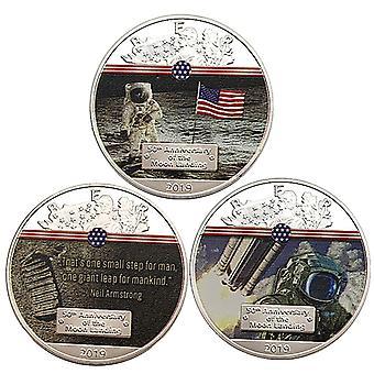 Trois pièces commémoratives américaines de la Statue de la Liberté Pièces de collection Space Craft Pièce commémorative Pièce commémorative