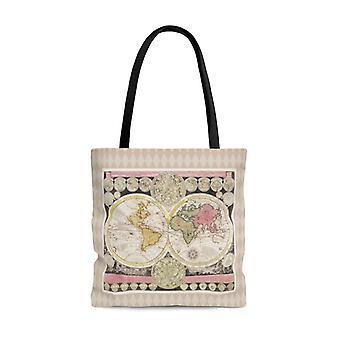 Premium polyester tote bag - vintage art #501 vintage world map | artsy tote bag, graphic tote bag, aesthetic tote bag, birthday gift idea