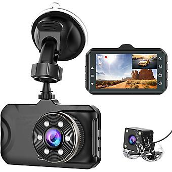 Dual Dash Camera per auto - Full Hd 170 Wide Angle Backup Camera con visione notturna Wdr G-sensor Parking Monitor Loop Recording Motion Detection