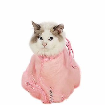 Pet Cat's Nail Clipper Bath And Anti-scratch Shower Bag-pet Cat Supplies (pink)