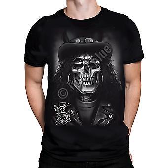 Vloeibare Blue-slash Skull-t-shirt korte mouw.