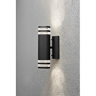 Konstsmide Modena Double Up Down Black Striped Wall Light
