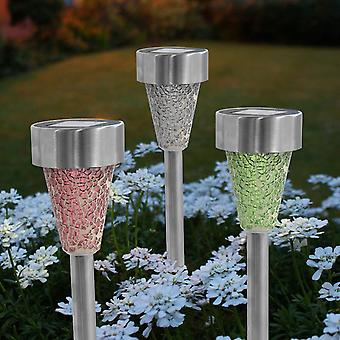 3 x Two Tone Crackle Mosaic Solar Post Light Pink Silver Green