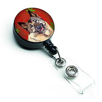 Norwegian Elkhound Red and Green Snowflakes Holiday Christmas Retractable Badge