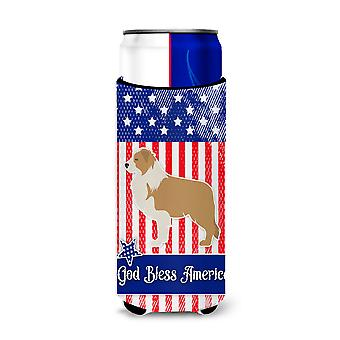 USA Patriotic Red Border Collie Michelob Ultra Hugger for slim cans
