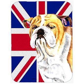 Bulldog English with English Union Jack British Flag Glass Cutting Board Large S