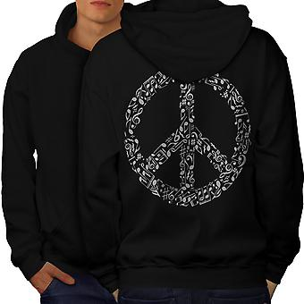 Peace Sign Music Rasta Men BlackHoodie Back | Wellcoda