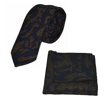 Lyxiga arabiska marinblå mönster Tie & Pocket Square Set