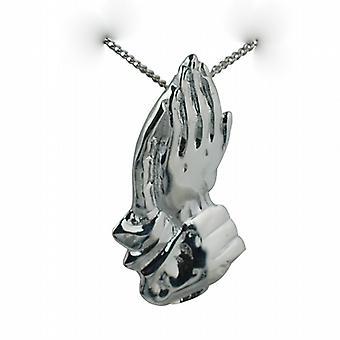 Silver 39x22mm rukoilevat kädet riipus hillitä ketju 24 tuumaa