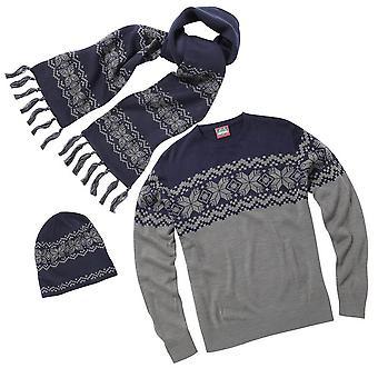 Christmas Shop Mens traditionella stickad vinter Jumper, Hat & halsduk Set