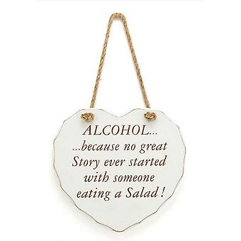 Heart Shaped Alcohol Design Hanging Wall Sign