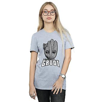 Marvel Women's Guardians Of The Galaxy Groot Face Boyfriend Fit T-Shirt
