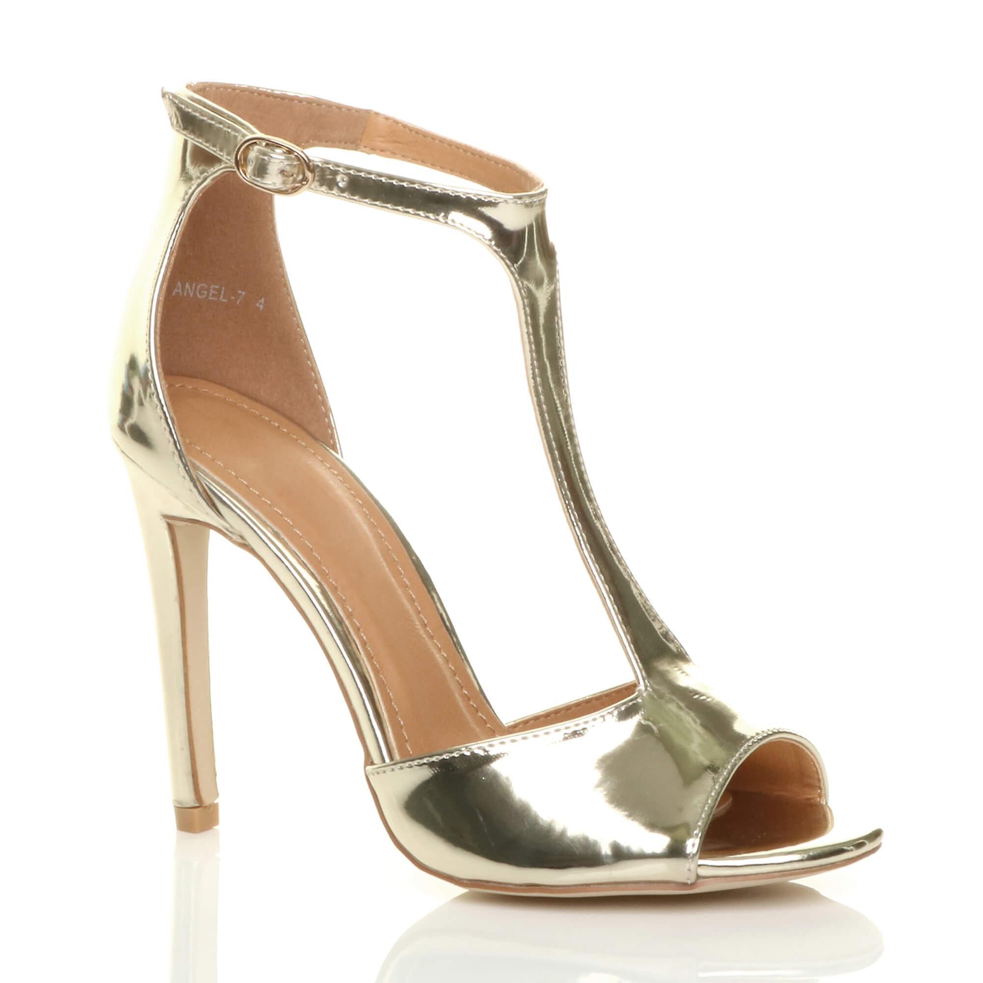Ajvani damskie szpilki t-bar kostki pasek partii sandały peep toe buty rozmiar 5qsAR