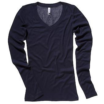 Bella Ladies Sheer Rib Long Sleeve V Neck T Shirt
