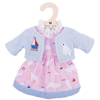 Bigjigs Toys Pink Polar Bear Rag Doll Dress & Cardigan (34cm) Clothing Outfit