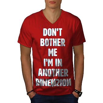 Another Dimension Funy Men RedV-Neck T-shirt | Wellcoda