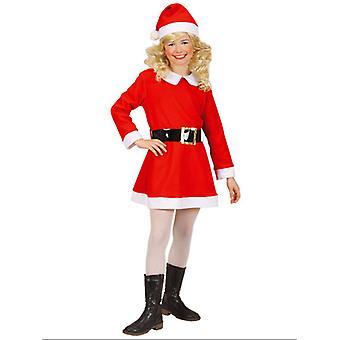 Flanell Santa Girl (Kleid Gürtel Hut) Kinder