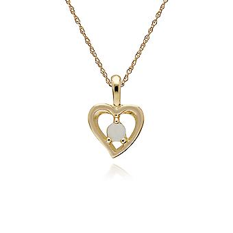 Classic Single Stone Round Opal Open Love Heart Pendant Necklace in 9ct Yellow Gold 135P1902029