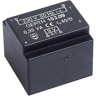 Trasformatore di montaggio PCB 1 x 230 V 1 x 9 V AC 0.35 VA 38 mA PTE200901 Gerth