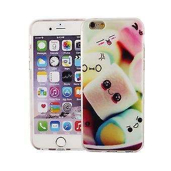 Handy Hülle für Apple iPhone 6 / 6s Cover Case Schutz Tasche Motiv Slim TPU + Panzer Schutz Glas 9H Schriftzug Marshmallows