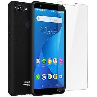 Imak Case finger ring holder+Hydrogel screen protector Zenfone Max Plus M1-Black