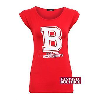Camiseta nueva señoras Cap manga USA Colegio Boston impresión blusa de las mujeres