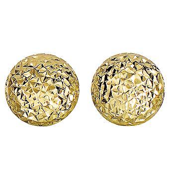 14k keltainen kulta ruutu leikkaa pyöreä turvonnut korvakoruja, 11mm