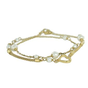 Skagen ladies bracelet double wrap gold beads JBSG035