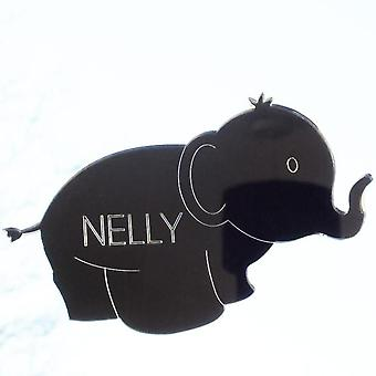 Cute Elephant Engraved Acrylic Mirrored Bedroom Door Sign
