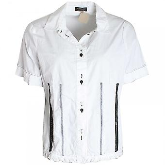 Apanage Women's Short Sleeve Frill Detail Shirt