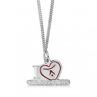 Pendentifs «J'adore la gymnastique avec le coeur», argent