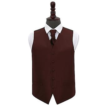 Burgundy Greek Key Wedding Waistcoat & Cravat Set