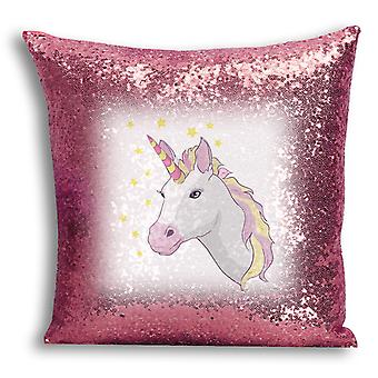 i-Tronixs - Unicorn Printed Design Rose Gold Sequin Cushion / Pillow Cover with Inserted Pillow for Home Decor - 6