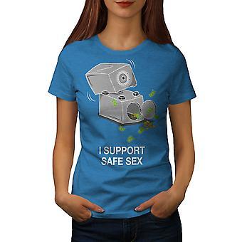 Support Safe Sex Funy Women Royal BlueT-shirt | Wellcoda