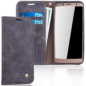 Cell phone cover case voor Sony Xperia XZ2 cover Wallet case grijs