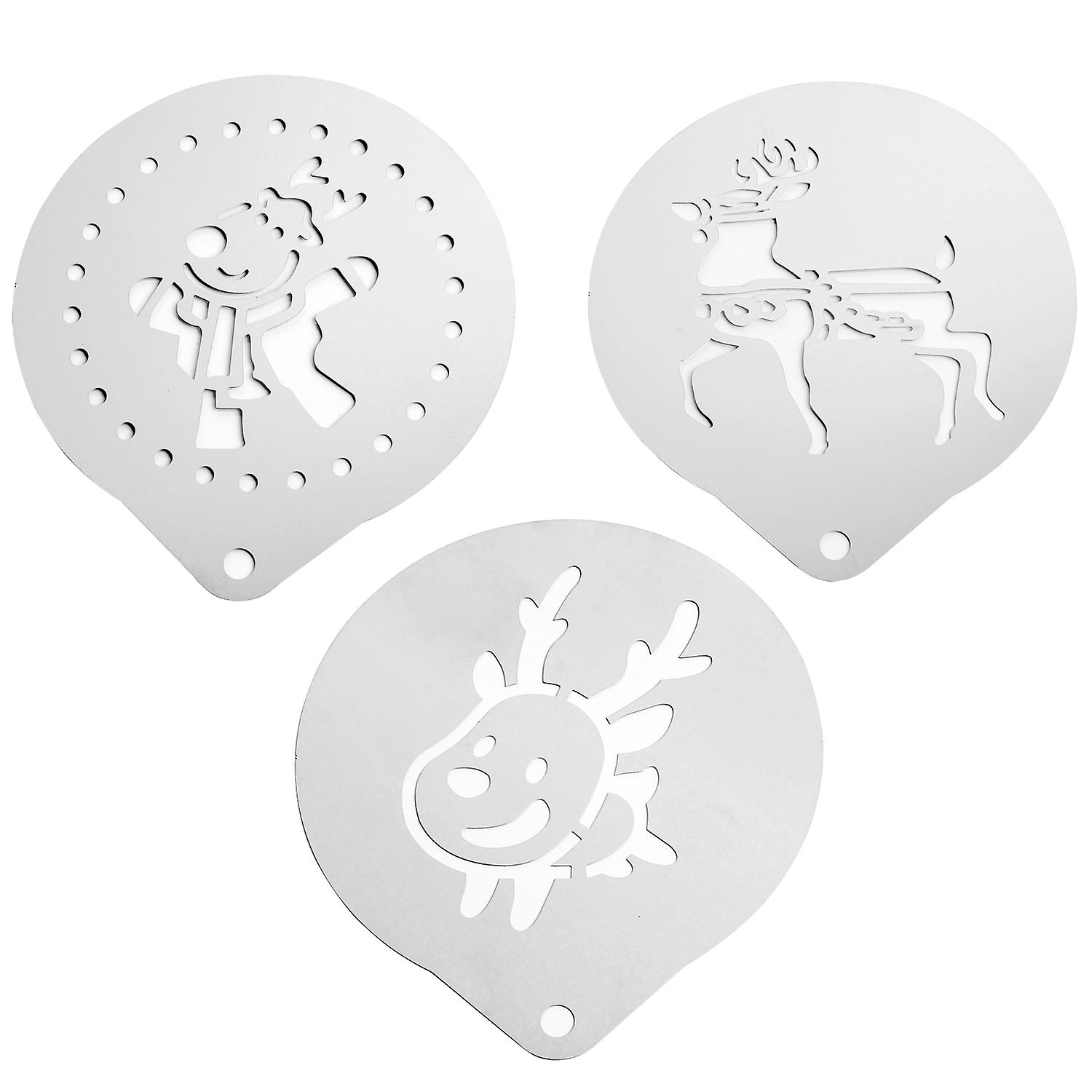 TRIXES Coffee Stencils for Christmas - 3 pc kit - Novelty Classic Design (3PC Reindeer Assorted)