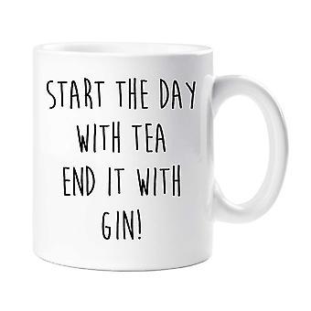 Start mit Tee am Ende es mit Gin-Becher