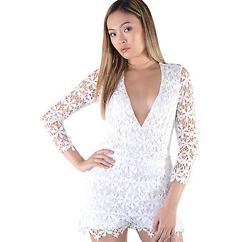 LMS Plunge White Lace Playsuit With See-Through Back