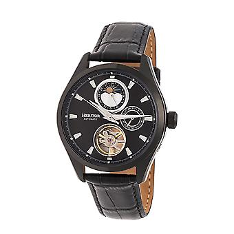 Heritor Automatic Sebastian Semi-Skeleton Leather-Band Watch- Black