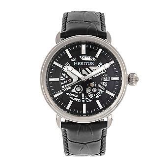 Heritor s automática Mattias-venda de cuero reloj w/fecha-plata/negro