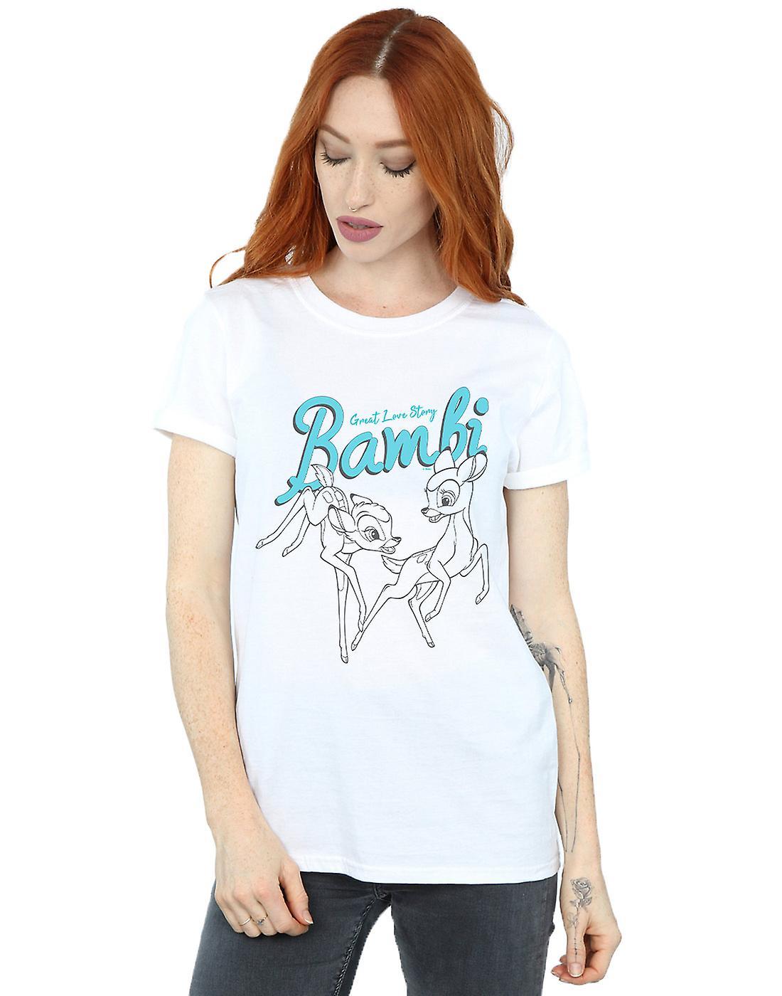 Disney Women's Bambi Great Love Story Boyfriend Fit T-Shirt