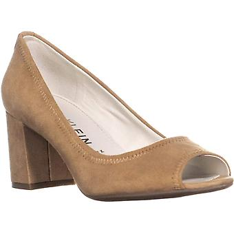 Anne Klein Womens Meredith Leather Peep Toe Classic Pumps