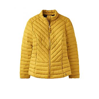 Joules Elodie Womens Chevron Quilted Jacket - Antique Gold