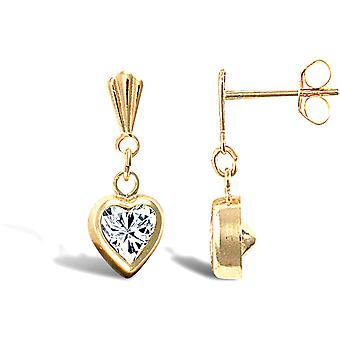 Jewelco London Ladies 9ct Yellow Gold White Heart Cubic Zirconia Solitaire Love Heart Drop Earrings