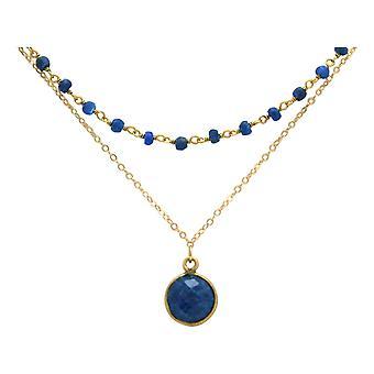 Colar gargantilha gemshine com safiras azuis profundas em 925 prata ou banhado a ouro