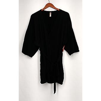 Xhilaration S/M 3/4 Length Sleeve Tie Front Knit Top Black Womens