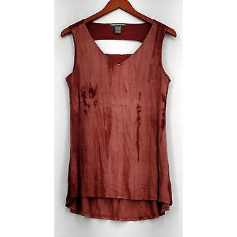 Kate et Mallory Top Sleeveless V-cou Top w/ Bar Back et Salut Lo Hem Red A432219